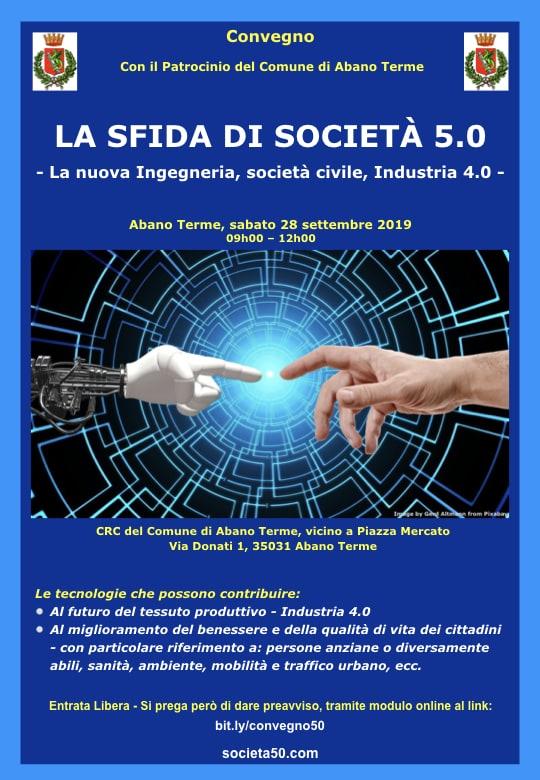 La locandina del convegno La sfida di Societa' 5.0