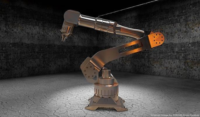 Un robot industriale. Alcune aziende hanno segnalato attacchi informatici durante le visite e perizie Industria 4.0 di alcuni ingegneri che partecipano al progetto Societa' 5.0. La cyber-security e' una necessita'