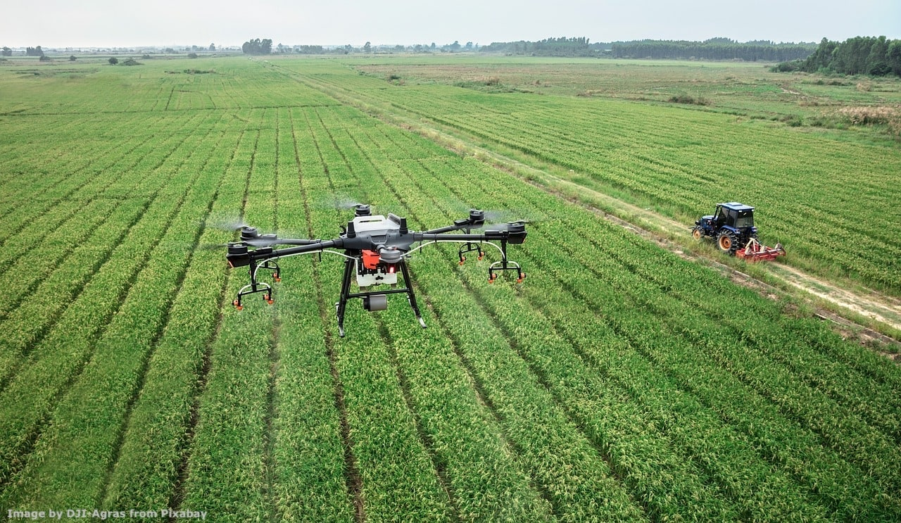 Society 5.0 e le sue applicazioni in ambito meccanica ed agricoltura: l'uso dei droni assieme ai mezzi meccanici tradizionali come i trattori allievera' il lavoro degli agricoltori